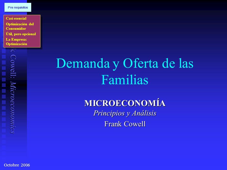 Frank Cowell: Microeconomics Demanda y Oferta de las Familias MICROECONOMÍA Principios y Análisis Frank Cowell Casi esencial Optimización del Consumidor Útil, pero opcional La Empresa: Optimización Casi esencial Optimización del Consumidor Útil, pero opcional La Empresa: Optimización Pre requisitos Octobre 2006
