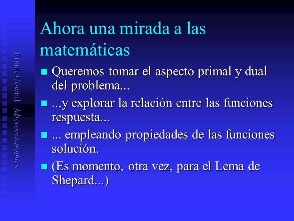 Frank Cowell: Microeconomics Ahora una mirada a las matemáticas Queremos tomar el aspecto primal y dual del problema...