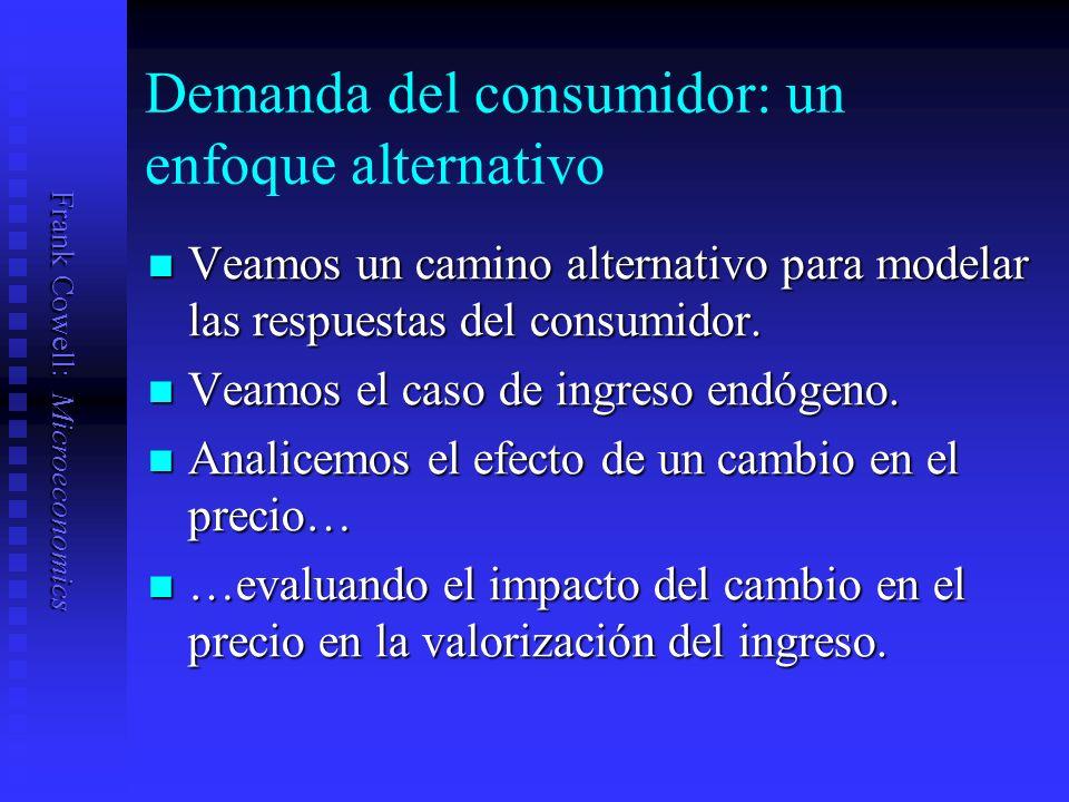 Frank Cowell: Microeconomics Demanda del consumidor: un enfoque alternativo Veamos un camino alternativo para modelar las respuestas del consumidor.