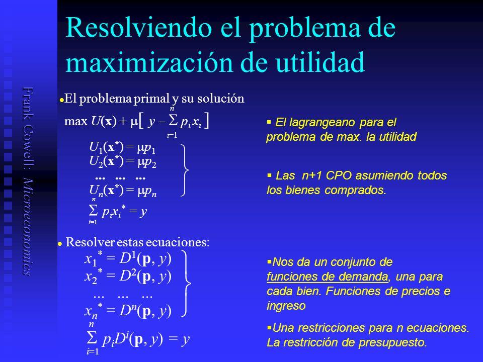 Frank Cowell: Microeconomics La curva de oferta R x1x1 x2x2 x * x *** x ** Tomamos el equilibrio del consumidor El precio del bien 1 sube El precio del bien 1 sigue subiendo Dibujamos los puntos que conectan los equilibrios Esta ruta es la curva de oferta.