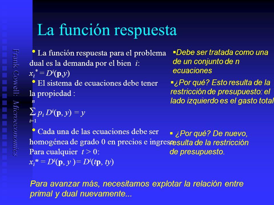 Frank Cowell: Microeconomics La función respuesta La función respuesta para el problema dual es la demanda por el bien i: x i * = D i (p,y) Debe ser tratada como una de un conjunto de n ecuaciones El sistema de ecuaciones debe tener la propiedad : n p i D i (p, y) = y i=1 ¿Por qué.