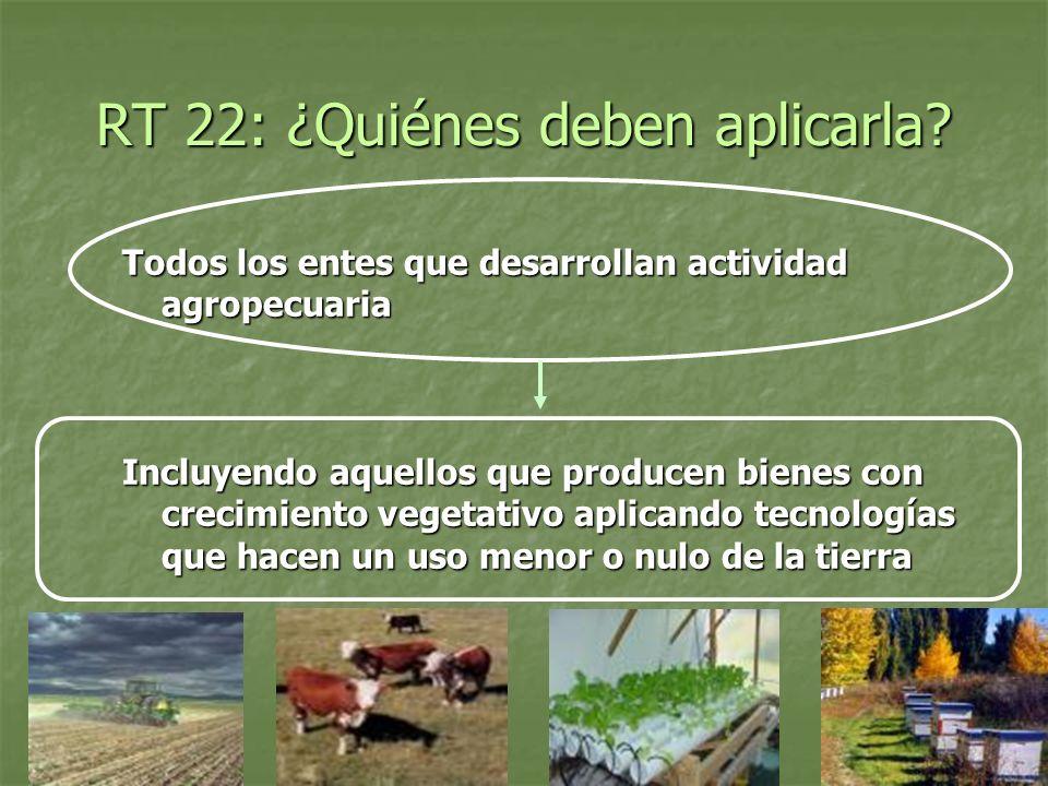 RT 22: ¿Quiénes deben aplicarla? Todos los entes que desarrollan actividad agropecuaria Incluyendo aquellos que producen bienes con crecimiento vegeta