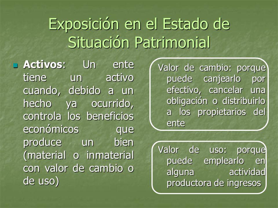 Exposición en el Estado de Situación Patrimonial Activos: Un ente tiene un activo cuando, debido a un hecho ya ocurrido, controla los beneficios econó