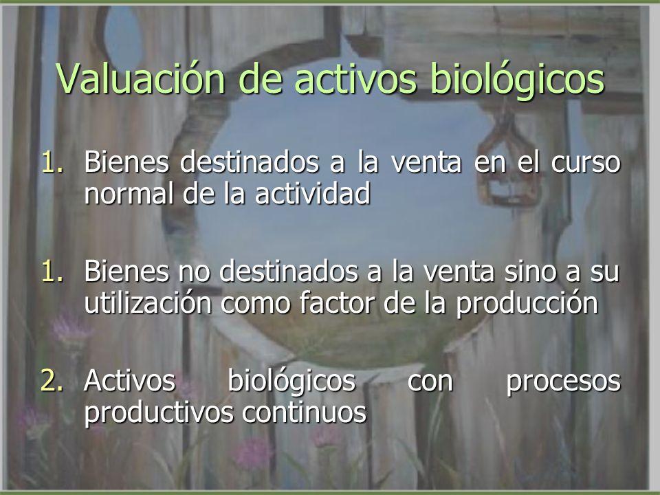 Valuación de activos biológicos 1.Bienes destinados a la venta en el curso normal de la actividad 1.Bienes no destinados a la venta sino a su utilizac