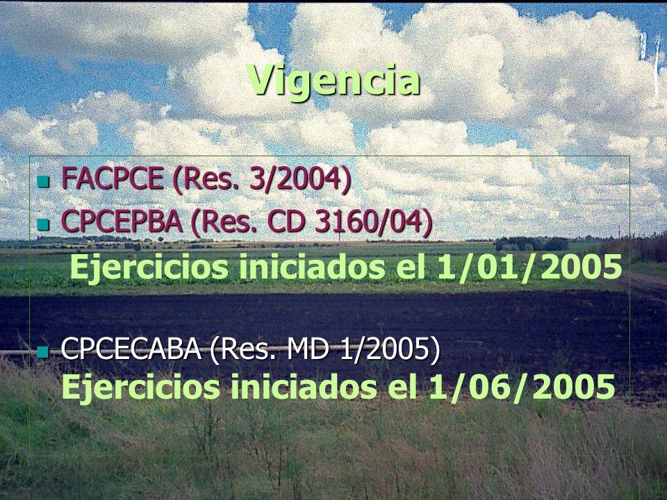 Vigencia FACPCE (Res. 3/2004) CPCEPBA (Res. CD 3160/04) Ejercicios iniciados el 1/01/2005 CPCECABA (Res. MD 1/2005) Ejercicios iniciados el 1/06/2005