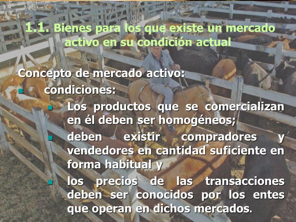 1.1. Bienes para los que existe un mercado activo en su condición actual Concepto de mercado activo: condiciones: condiciones: Los productos que se co