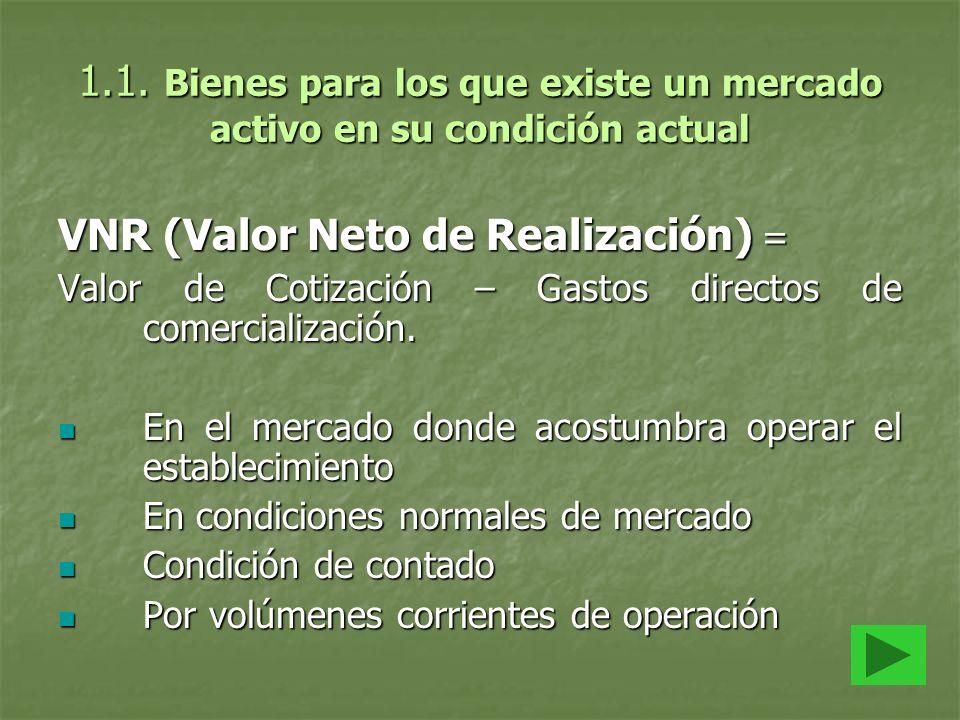 1.1. Bienes para los que existe un mercado activo en su condición actual VNR (Valor Neto de Realización) = Valor de Cotización – Gastos directos de co