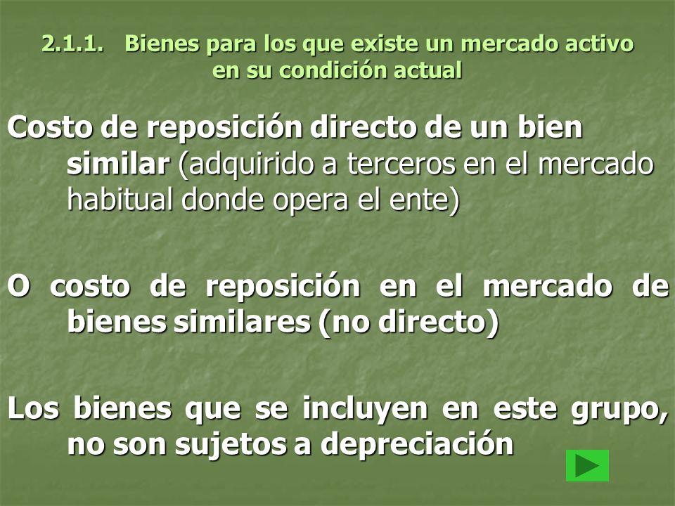 2.1.1. Bienes para los que existe un mercado activo en su condición actual Costo de reposición directo de un bien similar (adquirido a terceros en el