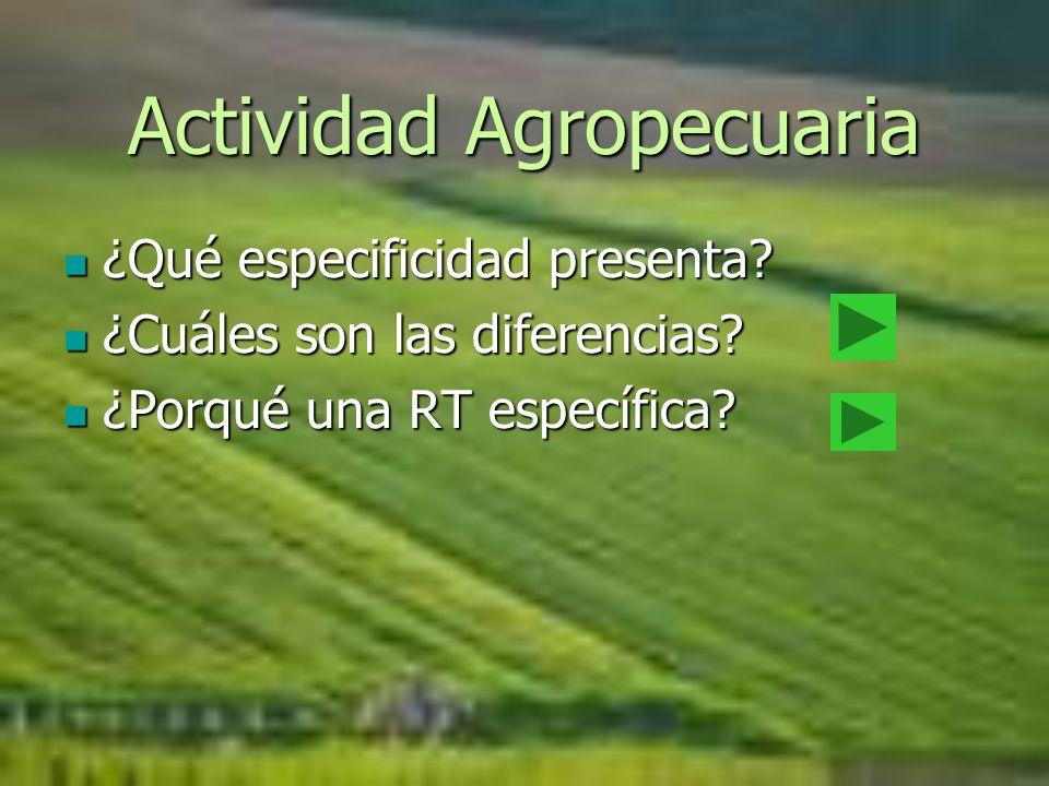 Actividad Agropecuaria ¿Qué especificidad presenta? ¿Qué especificidad presenta? ¿Cuáles son las diferencias? ¿Cuáles son las diferencias? ¿Porqué una