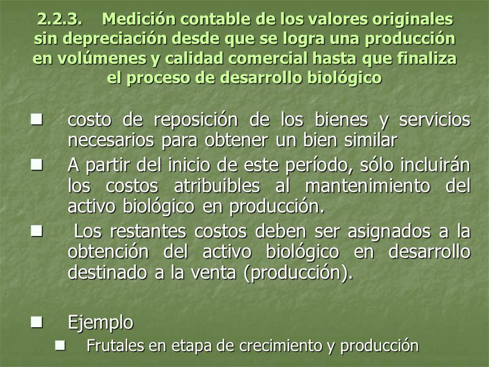 2.2.3. Medición contable de los valores originales sin depreciación desde que se logra una producción en volúmenes y calidad comercial hasta que final