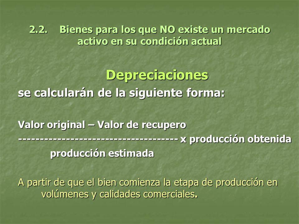 2.2. Bienes para los que NO existe un mercado activo en su condición actual Depreciaciones se calcularán de la siguiente forma: Valor original – Valor