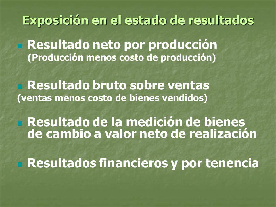 Exposición en el estado de resultados Resultado neto por producción (Producción menos costo de producción) Resultado bruto sobre ventas (ventas menos