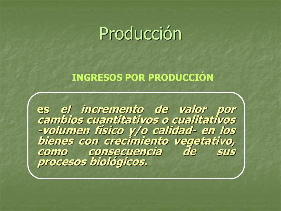 Producción INGRESOS POR PRODUCCIÓN es el incremento de valor por cambios cuantitativos o cualitativos -volumen físico y/o calidad- en los bienes con c
