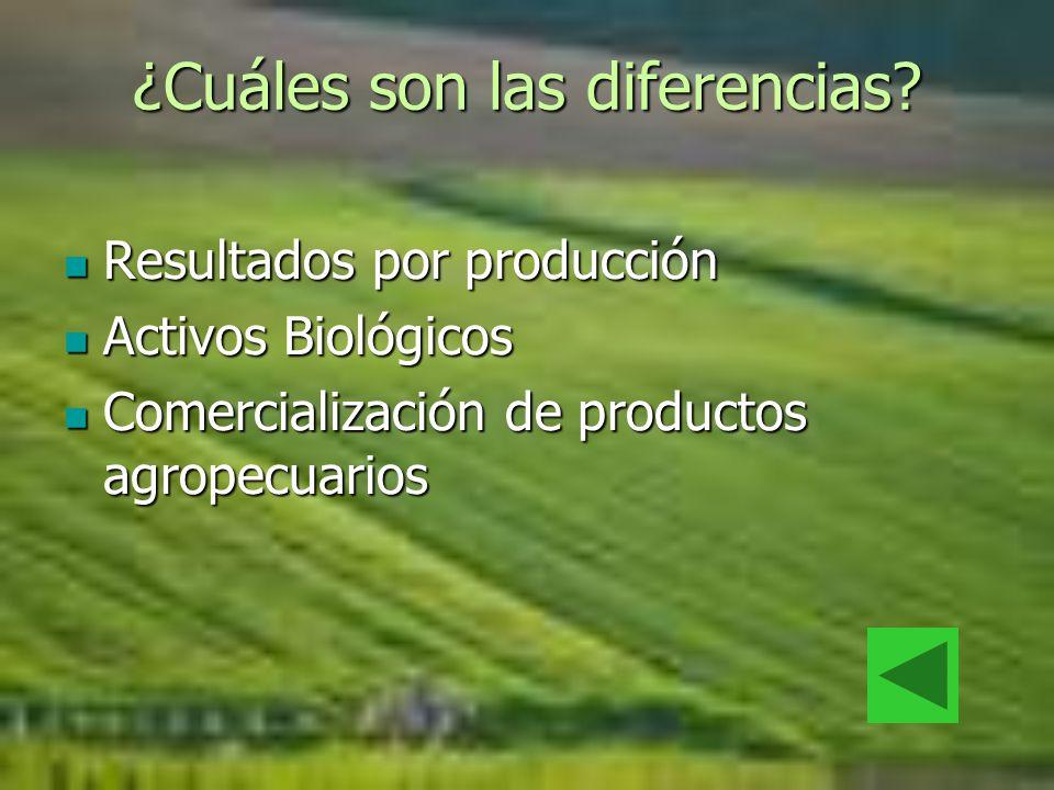 ¿Cuáles son las diferencias? Resultados por producción Resultados por producción Activos Biológicos Activos Biológicos Comercialización de productos a