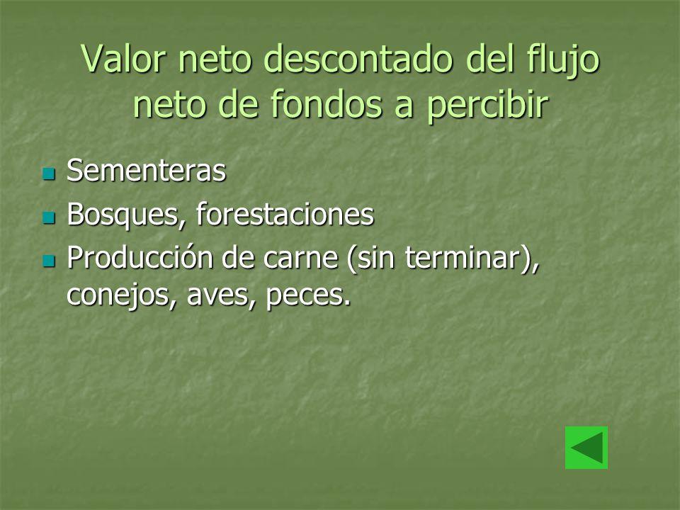 Valor neto descontado del flujo neto de fondos a percibir Sementeras Sementeras Bosques, forestaciones Bosques, forestaciones Producción de carne (sin