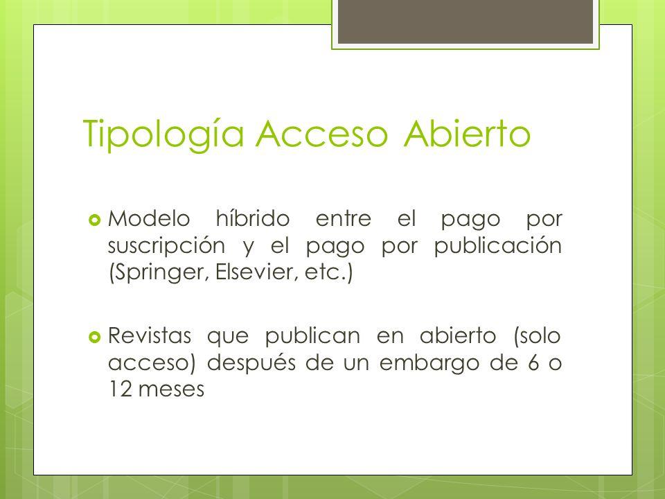 Tipología Acceso Abierto Modelo híbrido entre el pago por suscripción y el pago por publicación (Springer, Elsevier, etc.) Revistas que publican en abierto (solo acceso) después de un embargo de 6 o 12 meses