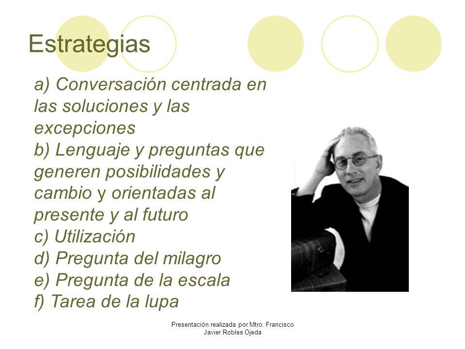 Estrategias a) Conversación centrada en las soluciones y las excepciones b) Lenguaje y preguntas que generen posibilidades y cambio y orientadas al pr