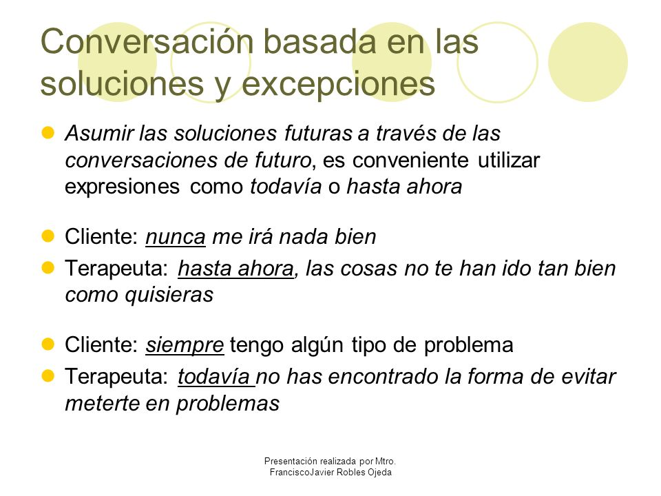 Conversación basada en las soluciones y excepciones Asumir las soluciones futuras a través de las conversaciones de futuro, es conveniente utilizar ex