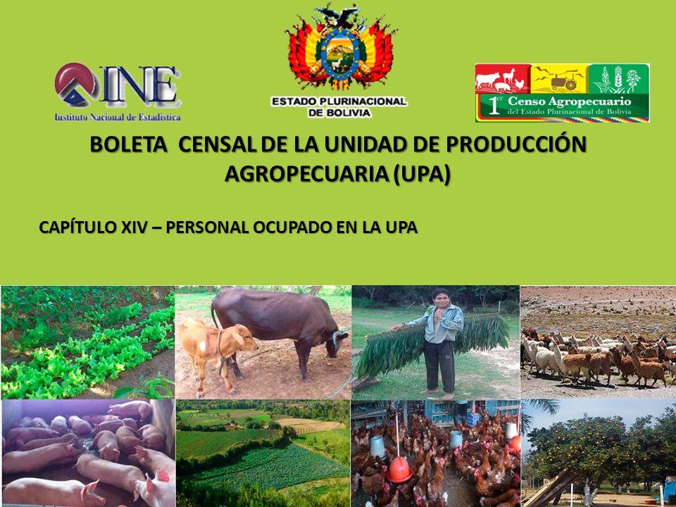 CAPÍTULO XIV – PERSONAL OCUPADO EN LA UPA BOLETA CENSAL DE LA UNIDAD DE PRODUCCIÓN AGROPECUARIA (UPA)