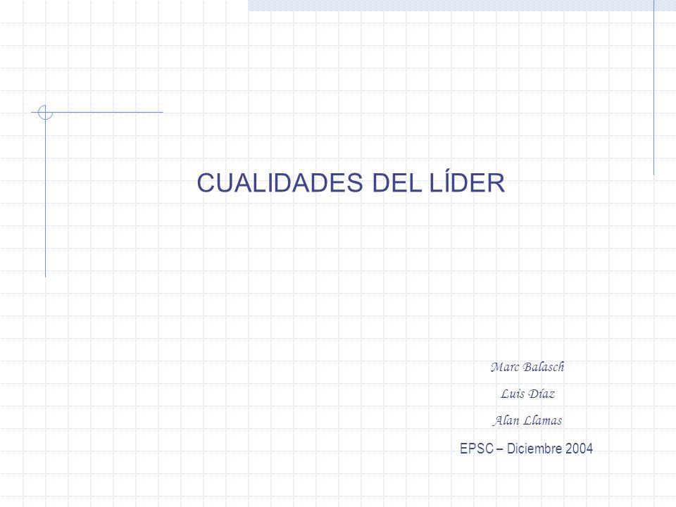 CUALIDADES DEL LÍDER Marc Balasch Luis Díaz Alan Llamas EPSC – Diciembre 2004