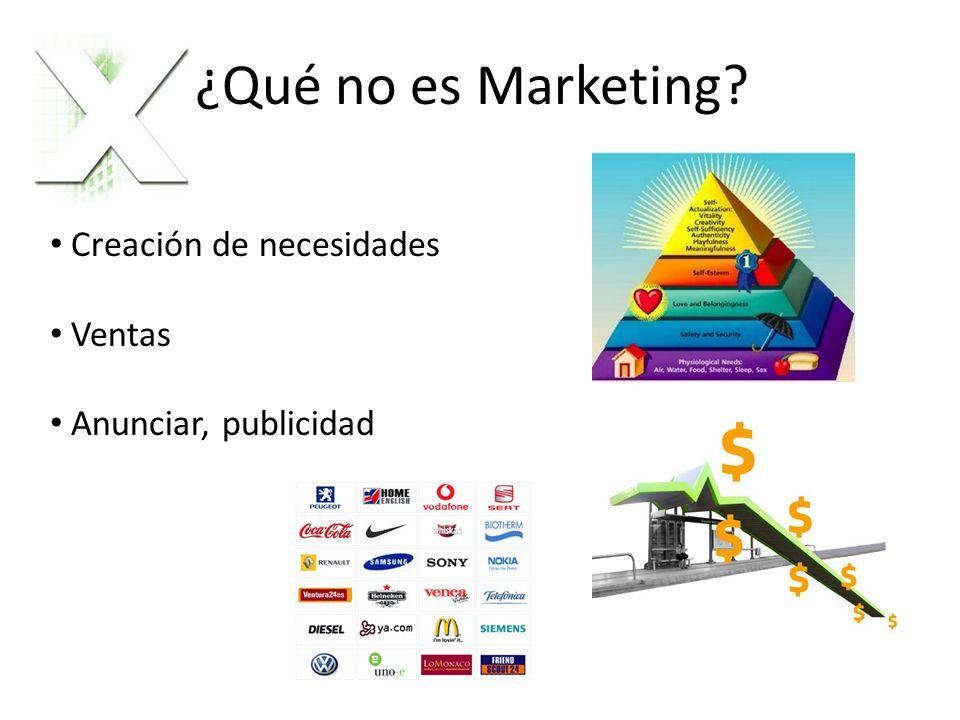 ¿Qué no es Marketing? Creación de necesidades Ventas Anunciar, publicidad