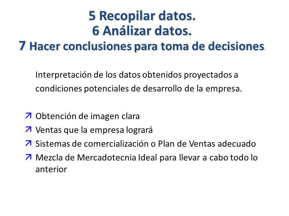 5 Recopilar datos. 6 Análizar datos.