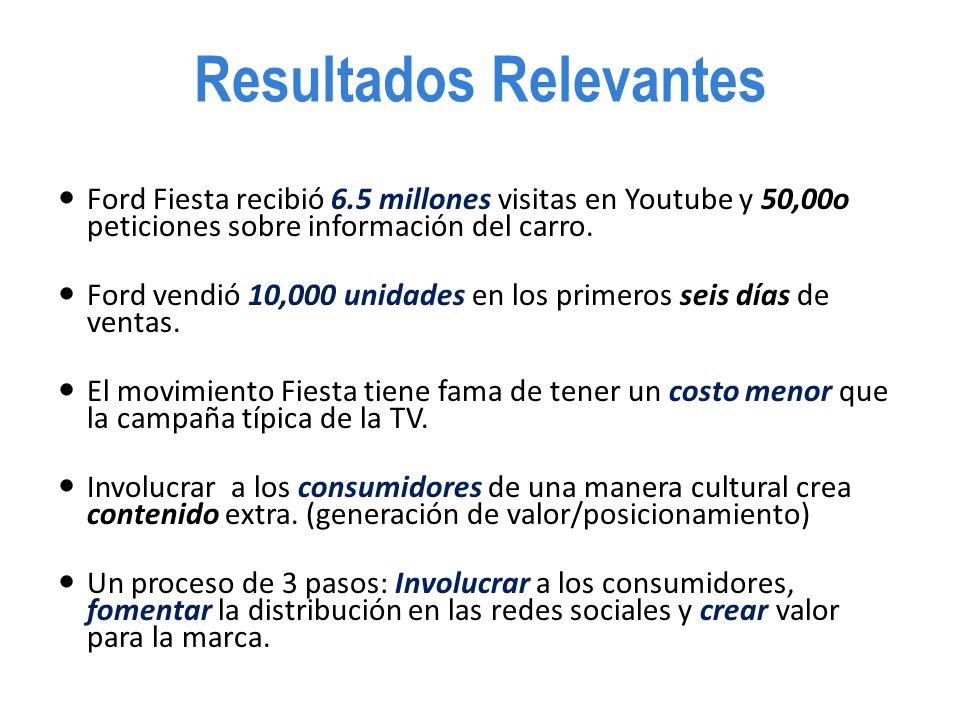 Resultados Relevantes Ford Fiesta recibió 6.5 millones visitas en Youtube y 50,00o peticiones sobre información del carro.