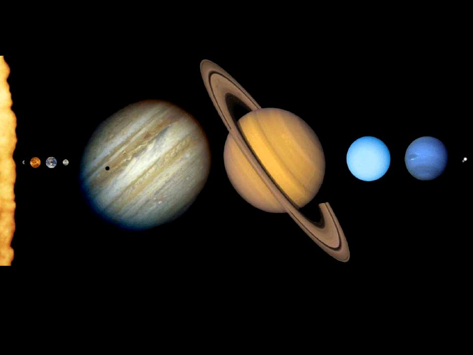 los nueve planetas ¡¡ Las distancias entre ellos no están a escala !! y sus tamaños relativos