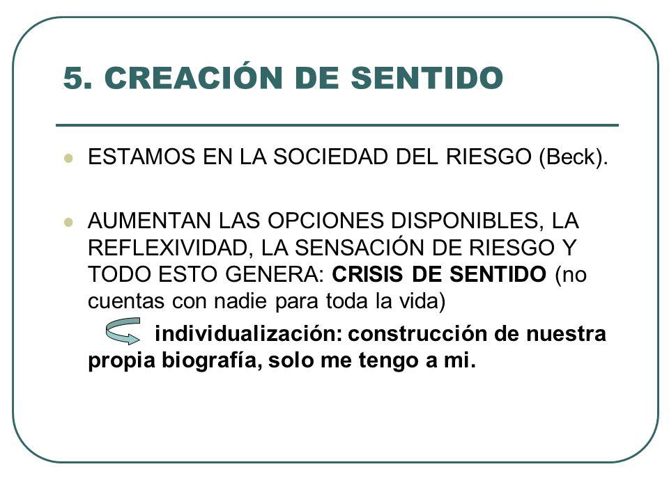 5. CREACIÓN DE SENTIDO ESTAMOS EN LA SOCIEDAD DEL RIESGO (Beck). AUMENTAN LAS OPCIONES DISPONIBLES, LA REFLEXIVIDAD, LA SENSACIÓN DE RIESGO Y TODO EST