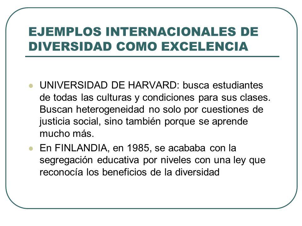 EJEMPLOS INTERNACIONALES DE DIVERSIDAD COMO EXCELENCIA UNIVERSIDAD DE HARVARD: busca estudiantes de todas las culturas y condiciones para sus clases.
