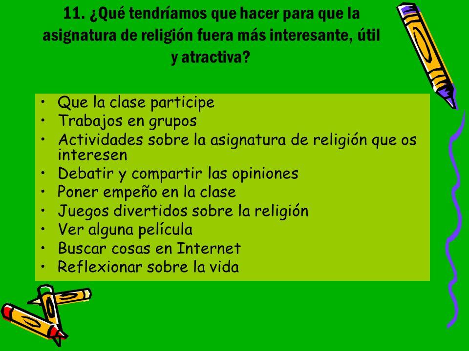 11. ¿Qué tendríamos que hacer para que la asignatura de religión fuera más interesante, útil y atractiva? Que la clase participe Trabajos en grupos Ac