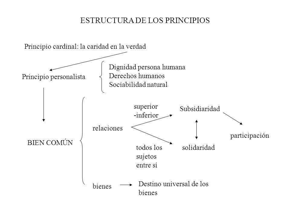 ESTRUCTURA DE LOS PRINCIPIOS BIEN COMÚN relaciones superior -inferior Subsidiaridad todos los sujetos entre sí solidaridad participación bienes Destin