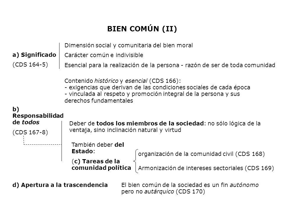 BIEN COMÚN (II) a) Significado (CDS 164-5) Dimensión social y comunitaria del bien moral Carácter común e indivisible Esencial para la realización de