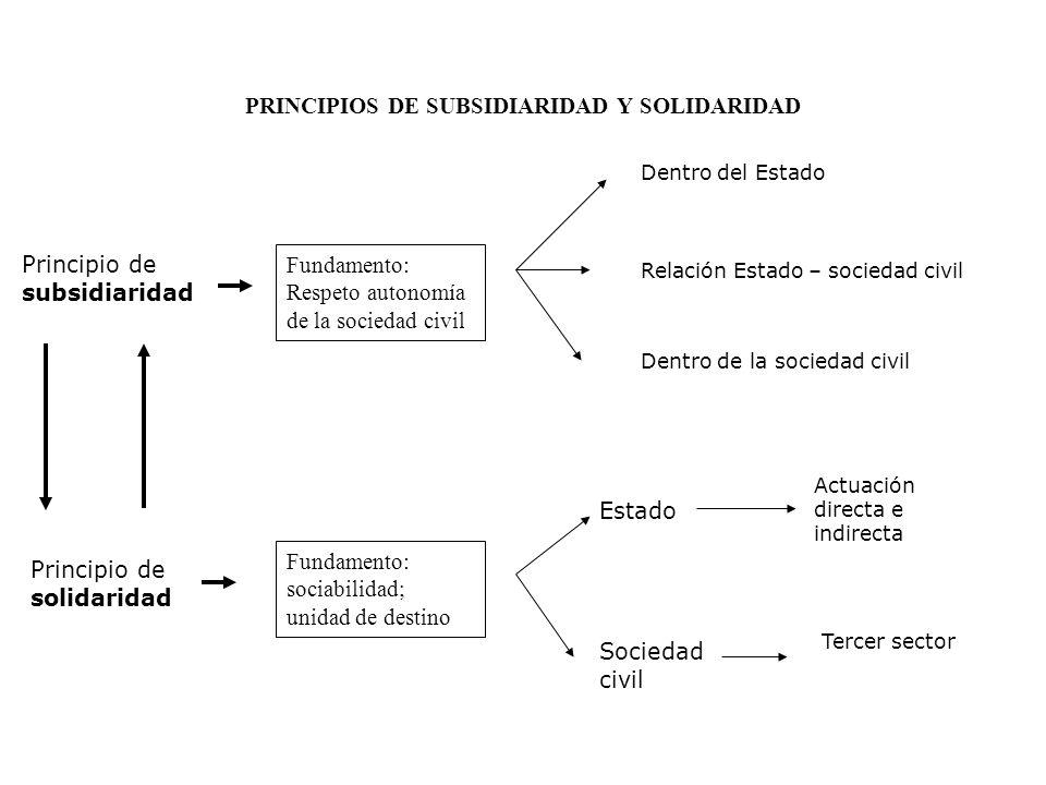 PRINCIPIOS DE SUBSIDIARIDAD Y SOLIDARIDAD Principio de subsidiaridad Fundamento: Respeto autonomía de la sociedad civil Principio de solidaridad Funda