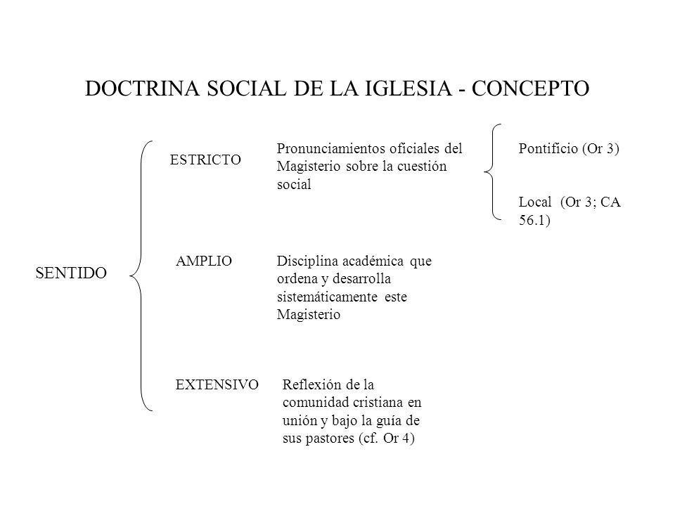 DOCTRINA SOCIAL DE LA IGLESIA - CONCEPTO SENTIDO ESTRICTO AMPLIO EXTENSIVO Pronunciamientos oficiales del Magisterio sobre la cuestión social Pontific
