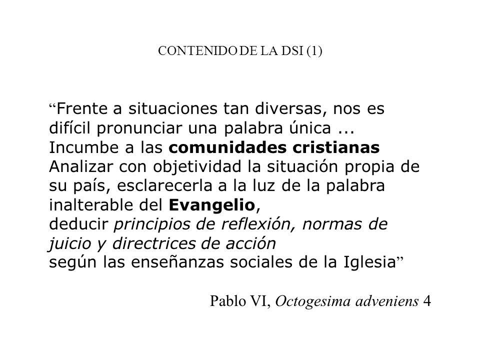 CONTENIDO DE LA DSI (1) Frente a situaciones tan diversas, nos es difícil pronunciar una palabra única... Incumbe a las comunidades cristianas Analiza