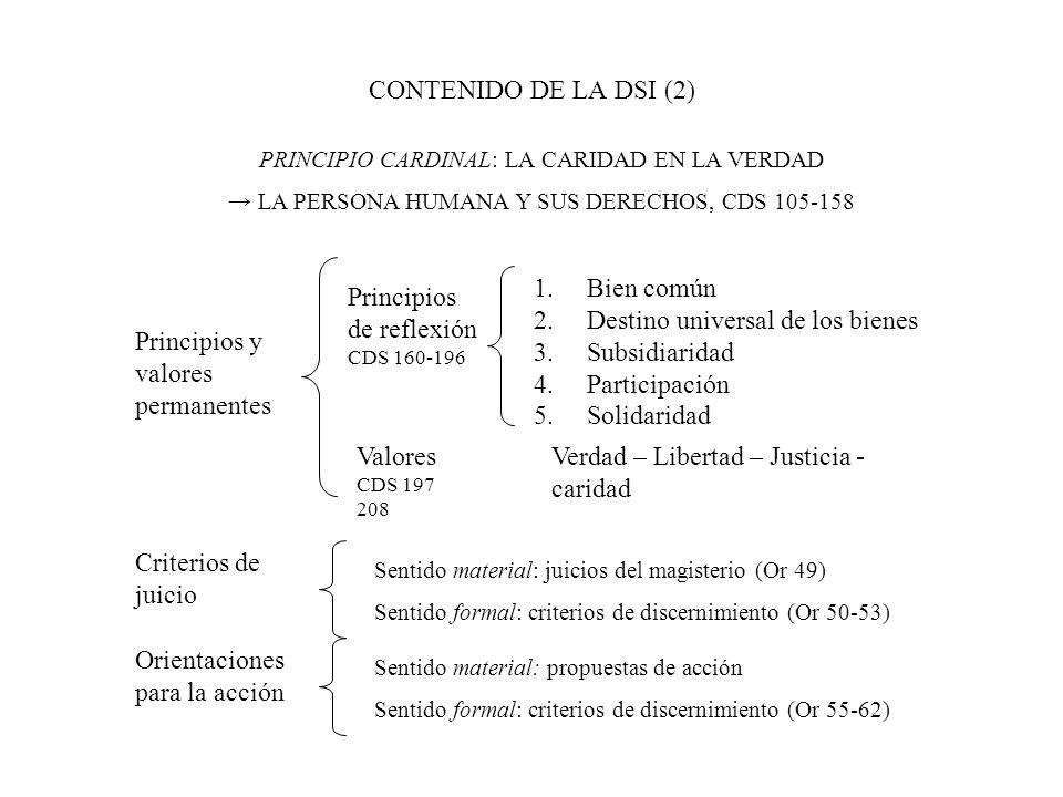 CONTENIDO DE LA DSI (2) Principios y valores permanentes Principios de reflexión CDS 160-196 Valores CDS 197 208 Criterios de juicio Orientaciones par