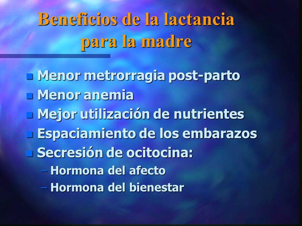 Beneficios de la lactancia para la madre n Menor metrorragia post-parto n Menor anemia n Mejor utilización de nutrientes n Espaciamiento de los embarazos n Secresión de ocitocina: –Hormona del afecto –Hormona del bienestar