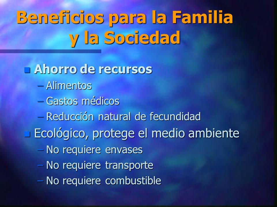 Beneficios para la Familia y la Sociedad n Ahorro de recursos –Alimentos –Gastos médicos –Reducción natural de fecundidad n Ecológico, protege el medio ambiente –No requiere envases –No requiere transporte –No requiere combustible