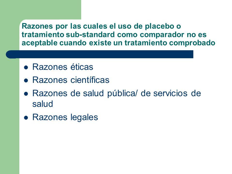 Razones por las cuales el uso de placebo o tratamiento sub-standard como comparador no es aceptable cuando existe un tratamiento comprobado Razones éticas Razones científicas Razones de salud pública/ de servicios de salud Razones legales
