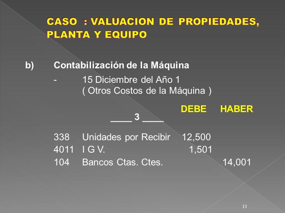 13 b)Contabilización de la Máquina -15 Diciembre del Año 1 ( Otros Costos de la Máquina ) DEBE HABER ____ 3 ____ 338Unidades por Recibir 12,500 4011I