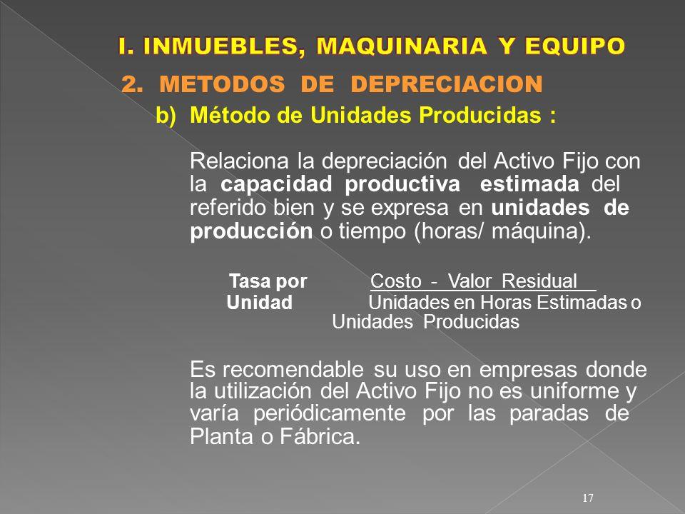 17 2. METODOS DE DEPRECIACION b)Método de Unidades Producidas : Relaciona la depreciación del Activo Fijo con la capacidad productiva estimada del ref