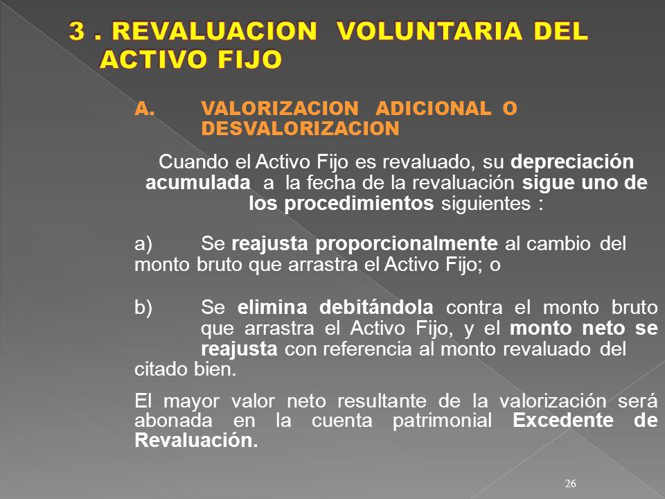26 A. VALORIZACION ADICIONAL O DESVALORIZACION Cuando el Activo Fijo es revaluado, su depreciación acumulada a la fecha de la revaluación sigue uno de