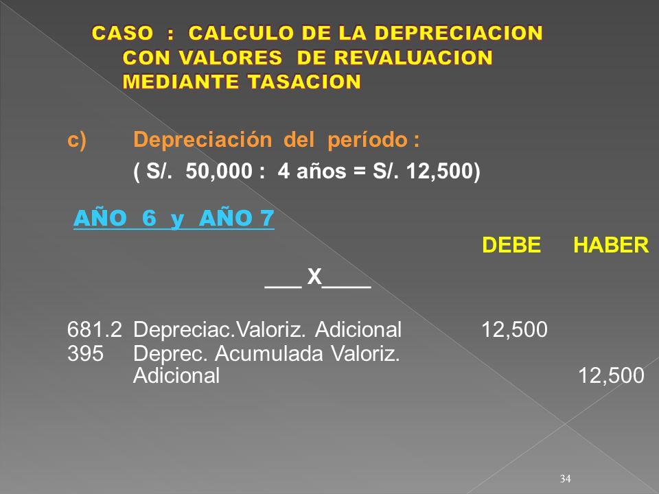 34 c) Depreciación del período : ( S/. 50,000 : 4 años = S/. 12,500) AÑO 6 y AÑO 7 DEBE HABER ___ X____ 681.2Depreciac.Valoriz. Adicional 12,500 395De