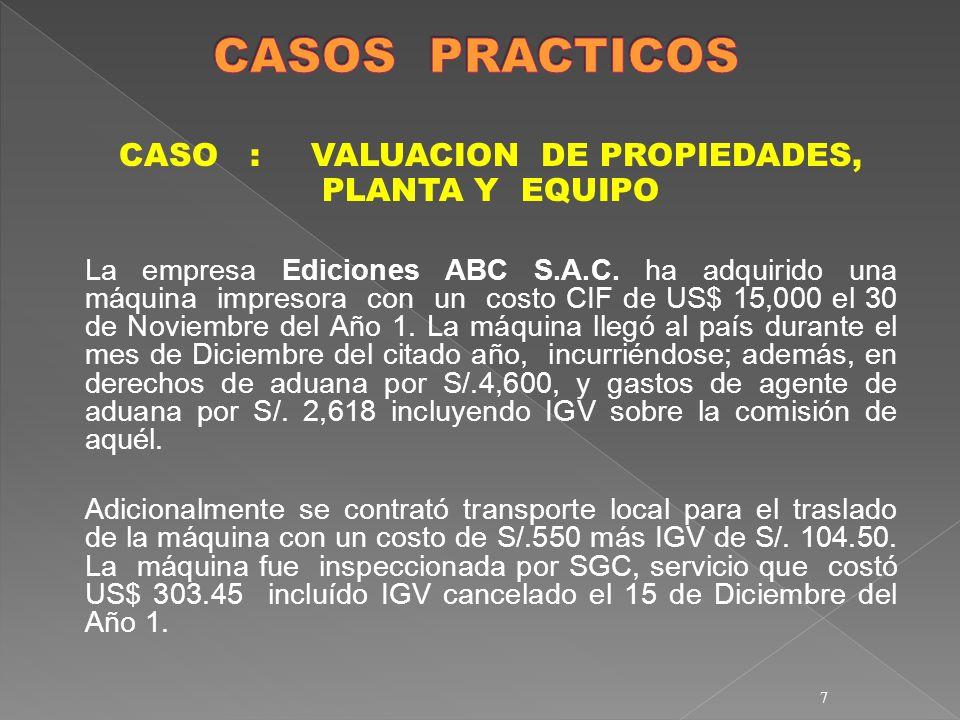 7 CASO :VALUACION DE PROPIEDADES, PLANTA Y EQUIPO La empresa Ediciones ABC S.A.C. ha adquirido una máquina impresora con un costo CIF de US$ 15,000 el