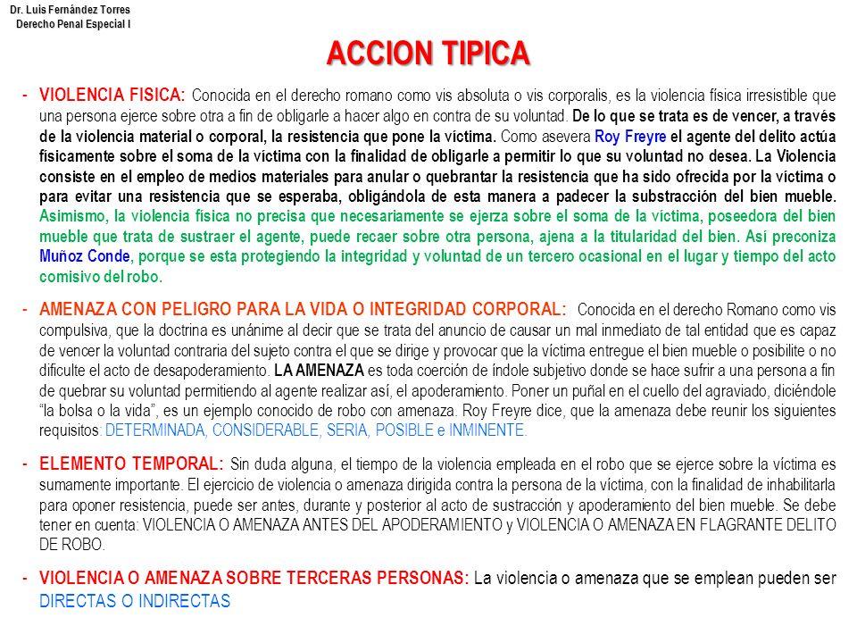 Dr. Luis Fernández Torres Derecho Penal Especial I ACCION TIPICA - VIOLENCIA FISICA: Conocida en el derecho romano como vis absoluta o vis corporalis,