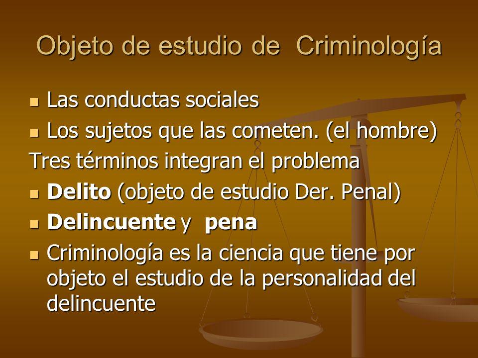 Objeto de estudio de Criminología Las conductas sociales Las conductas sociales Los sujetos que las cometen. (el hombre) Los sujetos que las cometen.