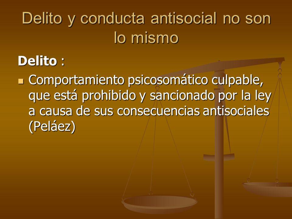 Delito y conducta antisocial no son lo mismo Delito : Comportamiento psicosomático culpable, que está prohibido y sancionado por la ley a causa de sus