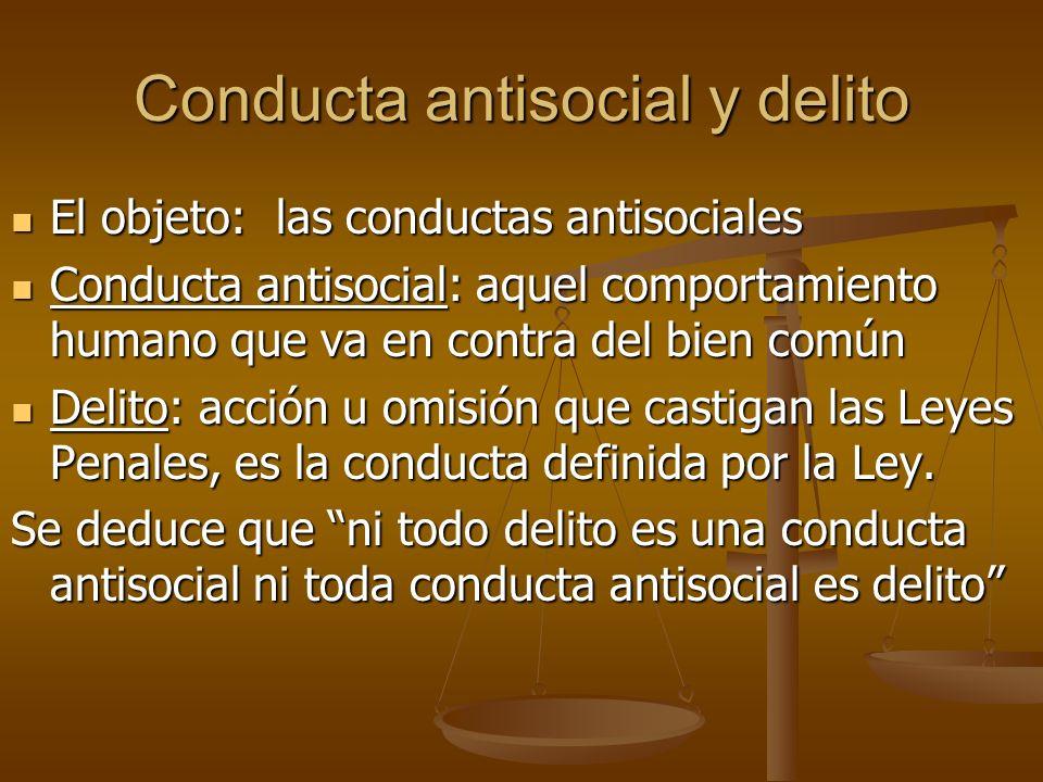 Conducta antisocial y delito El objeto: las conductas antisociales El objeto: las conductas antisociales Conducta antisocial: aquel comportamiento hum