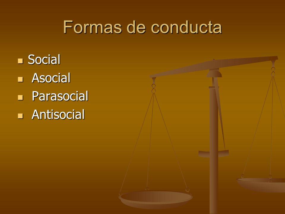 Formas de conducta Social Social Asocial Asocial Parasocial Parasocial Antisocial Antisocial